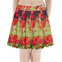 abstract poppys  Pleated Mini Skirt by artistpixi
