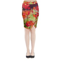 Abstract Poppys  Midi Wrap Pencil Skirt