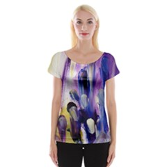 Purple Abstract Print  Women s Cap Sleeve Top by artistpixi