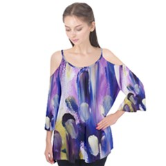 Purple Abstract Print  Flutter Tees