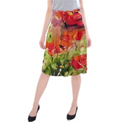 Abstact Poppys Art Print Midi Beach Skirt