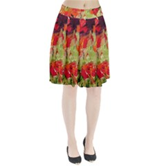 Abstact Poppys Art Print Pleated Skirt by artistpixi