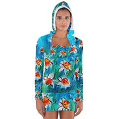 Abstract Daisys Floral Print  Women s Long Sleeve Hooded T Shirt by artistpixi