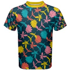 Colorful Floral Pattern Men s Cotton Tee