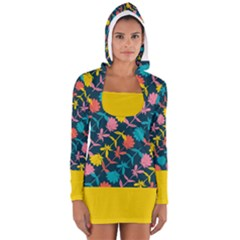 Colorful Floral Pattern Women s Long Sleeve Hooded T Shirt by DanaeStudio