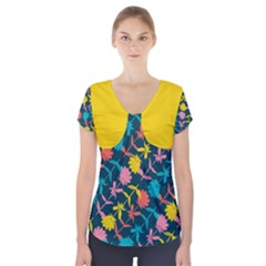 Colorful Floral Pattern Short Sleeve Front Detail Top