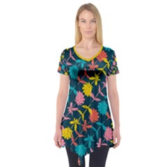 Colorful Floral Pattern Short Sleeve Tunic
