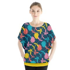Colorful Floral Pattern Batwing Chiffon Blouse by DanaeStudio