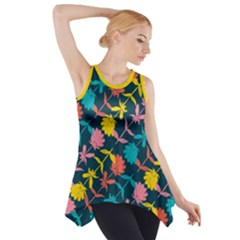 Colorful Floral Pattern Side Drop Tank Tunic