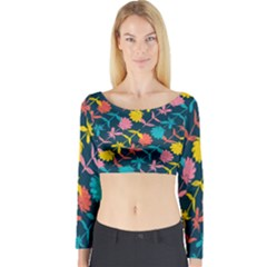 Colorful Floral Pattern Long Sleeve Crop Top (Tight Fit)