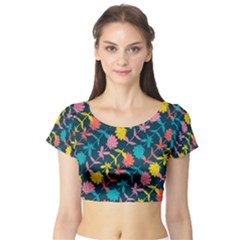 Colorful Floral Pattern Short Sleeve Crop Top (Tight Fit)