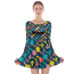 Colorful Floral Pattern Long Sleeve Skater Dress