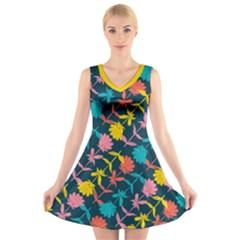 Colorful Floral Pattern V-Neck Sleeveless Dress
