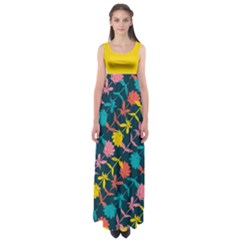 Colorful Floral Pattern Empire Waist Maxi Dress