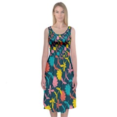 Colorful Floral Pattern Midi Sleeveless Dress by DanaeStudio