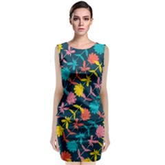 Colorful Floral Pattern Classic Sleeveless Midi Dress by DanaeStudio