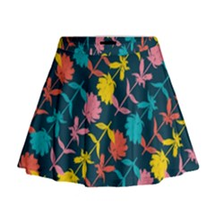 Colorful Floral Pattern Mini Flare Skirt