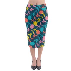 Colorful Floral Pattern Midi Pencil Skirt