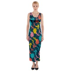 Colorful Floral Pattern Fitted Maxi Dress
