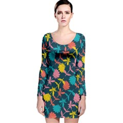 Colorful Floral Pattern Long Sleeve Velvet Bodycon Dress by DanaeStudio