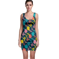 Colorful Floral Pattern Bodycon Dress