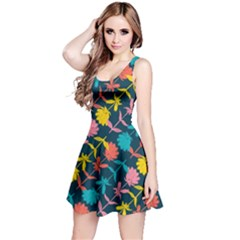 Colorful Floral Pattern Reversible Sleeveless Dress