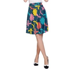 Colorful Floral Pattern A-Line Skirt