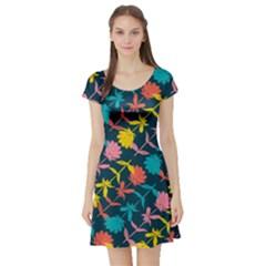 Colorful Floral Pattern Short Sleeve Skater Dress