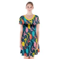 Colorful Floral Pattern Short Sleeve V-neck Flare Dress
