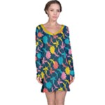 Colorful Floral Pattern Long Sleeve Nightdress