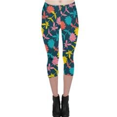 Colorful Floral Pattern Capri Leggings