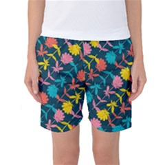Colorful Floral Pattern Women s Basketball Shorts by DanaeStudio