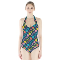 Colorful Floral Pattern Halter Swimsuit