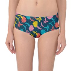Colorful Floral Pattern Mid-Waist Bikini Bottoms