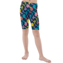 Colorful Floral Pattern Kid s Mid Length Swim Shorts by DanaeStudio