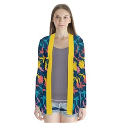 Colorful Floral Pattern Drape Collar Cardigan