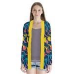 Colorful Floral Pattern Drape Collar Cardigan