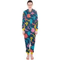 Colorful Floral Pattern Hooded Jumpsuit (ladies) by DanaeStudio