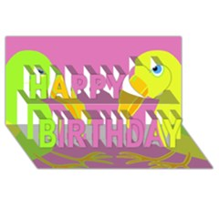 Parrots Happy Birthday 3d Greeting Card (8x4)