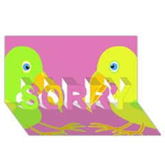 Parrots Sorry 3d Greeting Card (8x4)