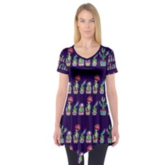 Cute Cactus Blossom Short Sleeve Tunic  by DanaeStudio
