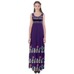 Cute Cactus Blossom Empire Waist Maxi Dress by DanaeStudio