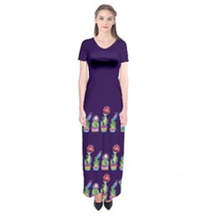 Dress Cute Cactus Blossom Short Sleeve Maxi Dress