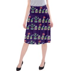 Cute Cactus Blossom Midi Beach Skirt by DanaeStudio