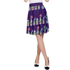 Cute Cactus Blossom A Line Skirt by DanaeStudio