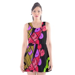 Elegant Abstract Decor Scoop Neck Skater Dress by Valentinaart
