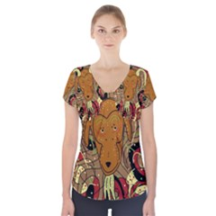 Billy goat Short Sleeve Front Detail Top by Valentinaart