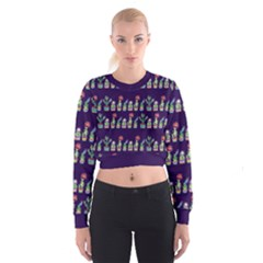 Cute Cactus Blossom Women s Cropped Sweatshirt by DanaeStudio