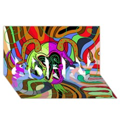 Colorful Goat Sorry 3d Greeting Card (8x4) by Valentinaart