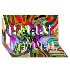 Colorful Goat Happy New Year 3d Greeting Card (8x4) by Valentinaart